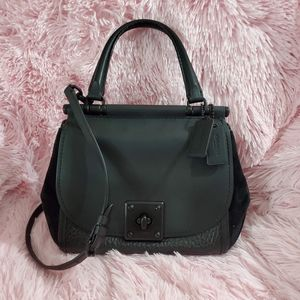Mixed Leather Drifter Top Handle Black Satchel